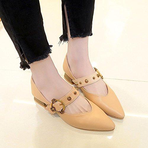 Xue Qiqi Solo zapatos Zapatos dama salvaje femenino alumnas en luz de Baotou zapatos con punta de base plana,35, beige