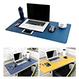 Leather Desk Mouse Pad, Desk Pad Protecter 31.5'' x 15.7'' Non-Slip Comfortable Desk Writing Mat Waterproof PU Leather Mat Dual Use Office Desk Mat (Blue&Yellow)