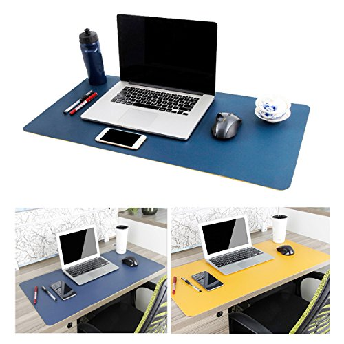 Leather Desk Mouse Pad, Desk Pad Protecter 31.5'' x 15.7'' Non-Slip Comfortable Desk Writing Mat Waterproof PU Leather Mat Dual Use Office Desk Mat (Blue&Yellow) by Tonfei