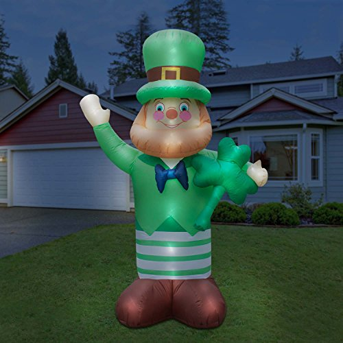 Holidayana Giant Saint Patrick's Day Inflatable Leprachaun with Shamrock Featuring Lighted Interior Built-in Fan and Anchor Ropes 10-Foot Airblown Lawn Decoration