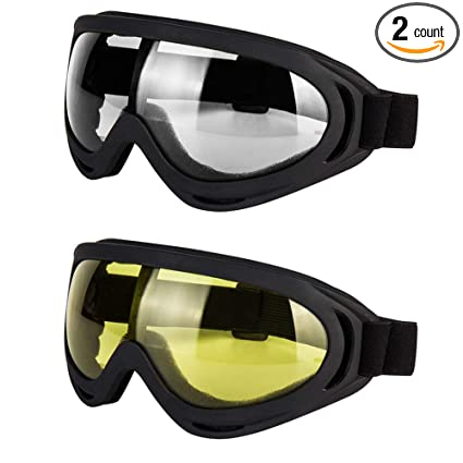 03e6962c8bc3 LJDJ Motorcycle Goggles - Glasses Set of 2 - Dirt Bike ATV Motocross  Anti-UV Adjustable Riding Offroad Protective Combat Tactical Military  Goggles for Men ...