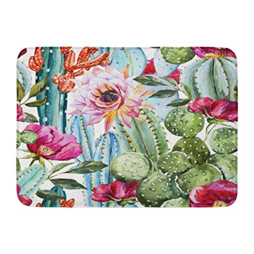 Emvency Doormats Bath Rugs Outdoor/Indoor Door Mat Green Desert Watercolor Pattern Flowers Roses and Cactus Bright Tropical Floral Bathroom Decor Rug Bath Mat 16