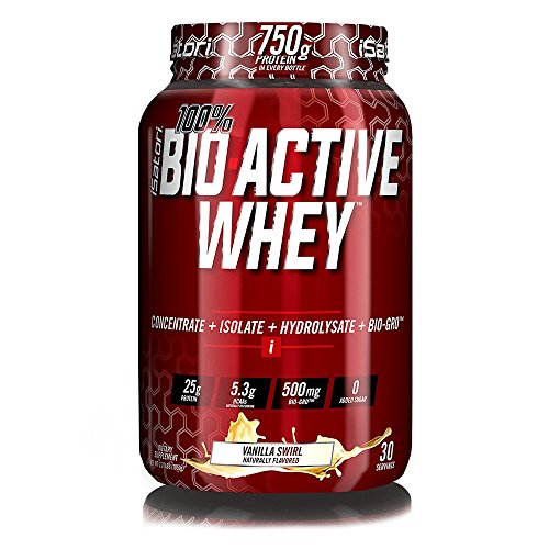 iSatori 100% Bio-Active Whey Protein Formula With Added Bio-Gro For Weight Lifting And Muscle Recovery – Training And Exercise – Protein Powder – Vanilla Swirl – 30 Servings