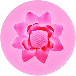 KUWEI 3D Lotus Flower Silicone Mold Decorating Molds,Suitable for Making Cakes,Bread,Mousse,Jelly,Prepared Foods,Chocolate and so on