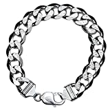 Daesar 925 Silver Bracelet For Women And Men Large And Wide Face Bracelet Silver Chain Length:17CM