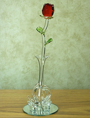 Valentine's Day Rose - Glass Red Rose in Vase with Crystal S