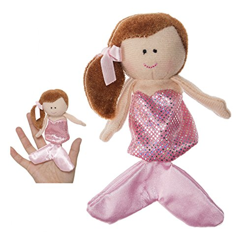 Brown Haired Mermaid With Pink Colored Dress Finger Puppet - By Ganz