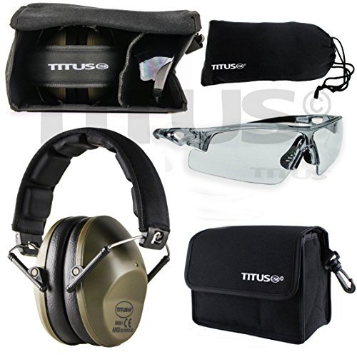 - Titus TOP Slim-Line Safety Glasses and Earmuff Combos (Olive, G20 Clear w/All-Sport Frame)