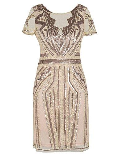 Prom Dresses V Neck Inspired Sequins Cocktail Flapper Dress L Champagne ()