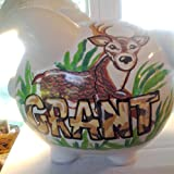 Handpainted Personalized Deer in the Forest Outdoors Theme Piggy Bank