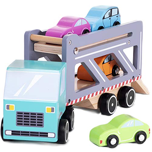 Imagination Generation Cruisin' Car Carrier | Wooden Semi-Truck Toy with 4 Colorful Car Accessories and Pull-Down Ramp (5 pcs.)
