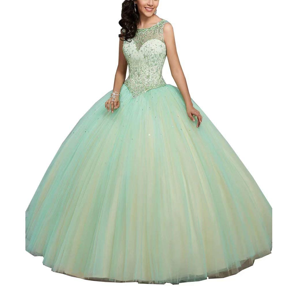 Women's Crystal Beaded Quinceanera Dresses Long Prom Ball Gown Sweet 16 Dress Plus Size