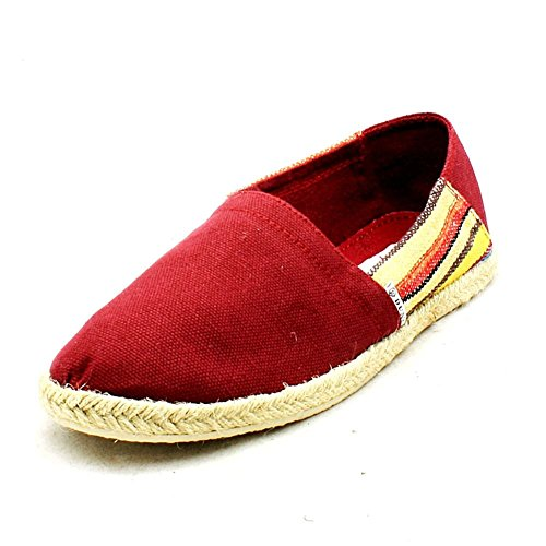 SendIt4Me Ladies Canvas Espadrilles/Pumps With Side Stripes Red ArUInBLvL