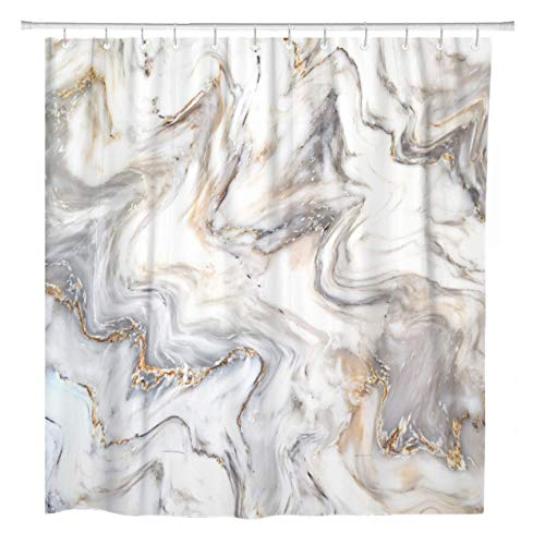 ArtSocket Shower Curtain Brown Marble Ink Pattern Can Skin Wall Luxurious Blue Home Bathroom Decor Polyester Fabric Waterproof 72 x 72 Inches Set with Hooks ()