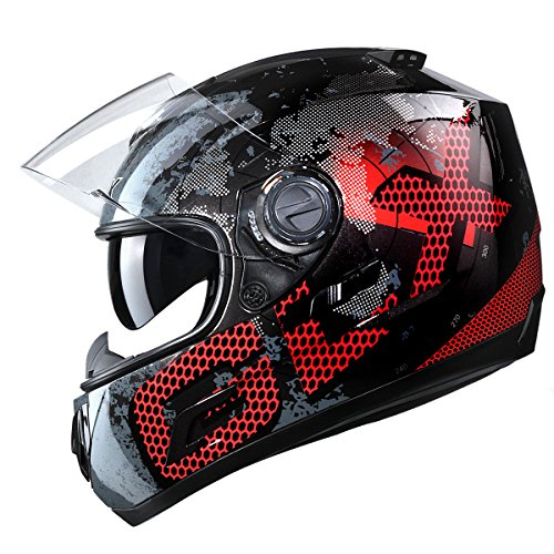 def6541b GLX Dual Visor Full Face Motorcycle Street Bike Helmet (Metal, Medium) (DOT