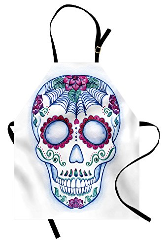 Ambesonne Sugar Skull Apron, Day of The Dead Colorful Skull with Floral Ornament Hand Drawn Style Doodle, Unisex Kitchen Bib Apron with Adjustable Neck for Cooking Baking Gardening, Blue Lavender