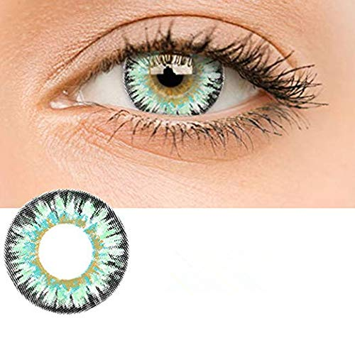 dhje-chen Women Multi-Color Contact Lenses Cute Colored Charm and Attractive Cosmetic Makeup Eye Shadow (Green) -