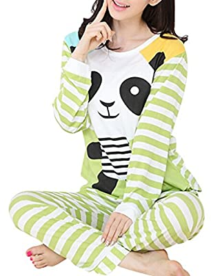 VENTELAN Women Long Sleeve Panda Print Round Neck Pajamas Set Striped Sleepwear