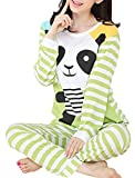 VENTELAN Women Long Sleeve Panda Print Round Neck Pajamas Set Striped Sleepwear A-Green Panda M (USA Size:8-10)