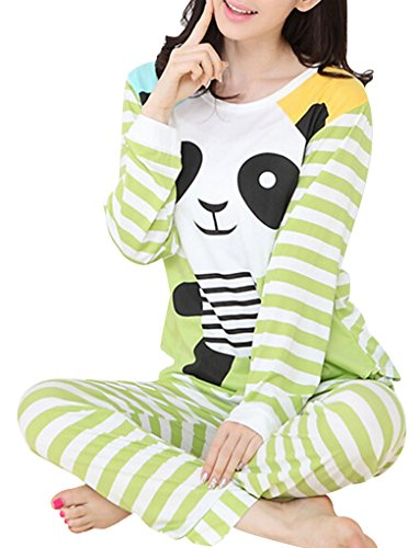 VENTELAN Women Long Sleeve Panda Print Round Neck Pajamas Set Striped Sleepwear A-Green Panda L (USA (Funny Womens Pajamas)