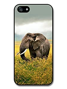 AMAF ? Accessories Elephant Walking Through Yellow Flowers case for iPhone 5 5S