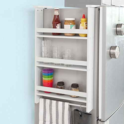 A spice rack perfect for the side of your fridge. It is a perfect choice if you're looking for a space-saver rack.