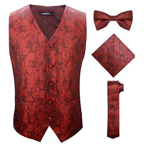 2019 Lasted Stylish Fashion Burgundy Men's Vest Jacquard Suit Vests,Red,4XL