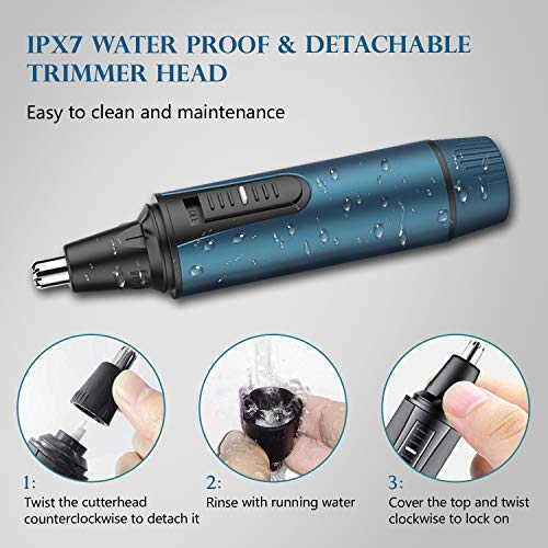 Nose Hair Trimmer 2021 Professional Nose Trimmer for for Men and Women Nose Clipper Battery-Operated, IPX7 Waterproof Dual Edge Blades for Easy Cleansing