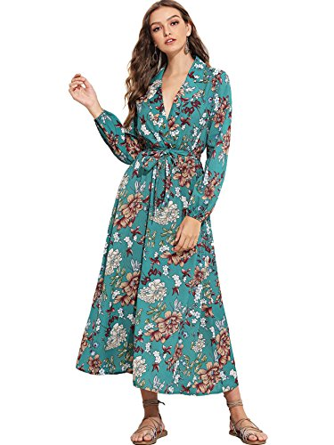 - Milumia Women's Bishop Sleeve Surplice Wrap Self Tie Floral Print Maxi Dress (X-Large, Multicoloured#9)