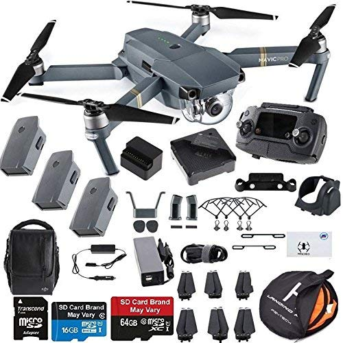 DJI Mavic Pro Fly More Combo Collapsible Quadcopter Drone Safety Bundle with Extra 2 Batteries,...