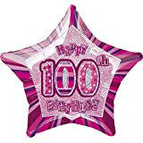 Unique Party 20-Inch Glitz Foil Happy 100th Birthday Helium Balloon (Pink)