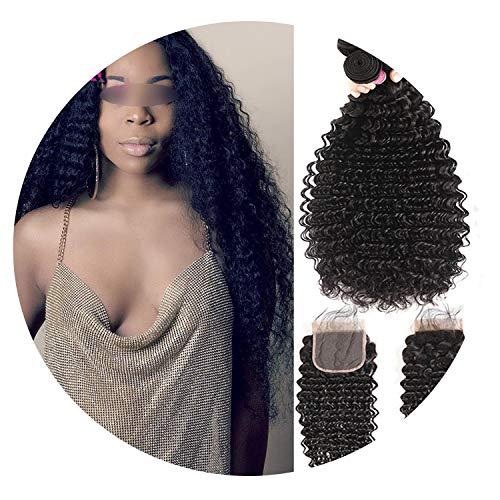 Brazilian Deep Wave Bundles With Closure Non Remy Human Hair 3 and 4 Bundles With Lace Closure Human Hair Extensions,16 16 16 & Closure14,Natural Color,Three Part]()