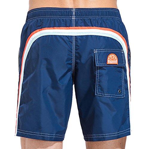 Sundek Men's Classic 16'' Elastic Waist Swim Short, Navy/Red White Blue, M by Sundek