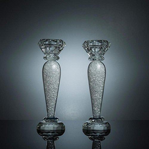 Elegance Crystal Taper - Matashi Premium Crystal Candlestick, Radiant Gems Inside Stem | Contemporary Elegance & Style | Modern Kitchen, Dining, or Living Room Use (Classic, Medium)
