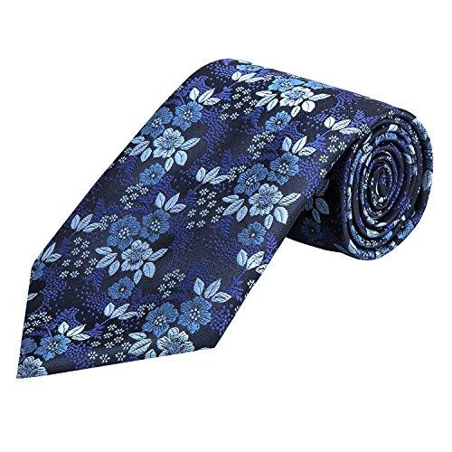 Blue Pattern Tie (PilotMan Men's Paisley Jacquard Woven Silk Tie Florets Patterns Necktie (Blue))