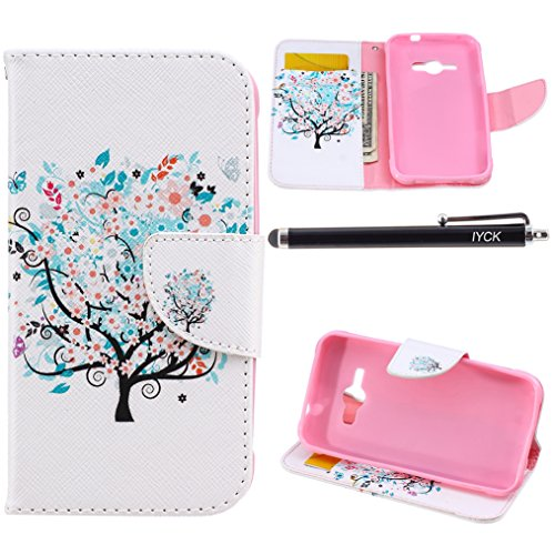 Ace Cover (Galaxy J1 Ace Case Wallet, iYCK Premium PU Leather Flip Carrying Magnetic Closure Protective Shell Wallet Case Cover for Samsung Galaxy J1 Ace/J110M with Kickstand Stand - Butterfly Floral Tree)