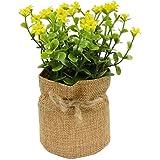 Kit Com 2 Plantas Artificial Com Vaso Estopa Decoração