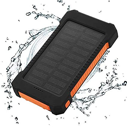FLOUREON 10000mAh Power Bank Waterproof Portable External Battery Backup  Solar Charger With Dual USB For Android
