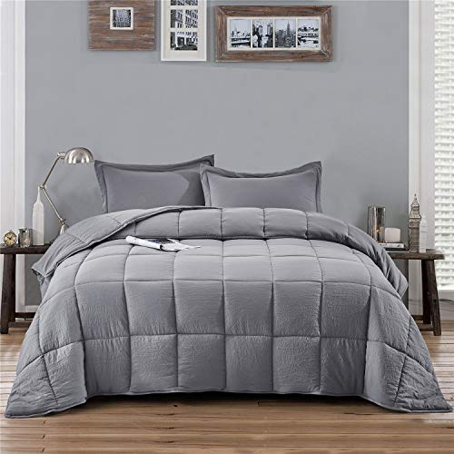 HIG 3pc Prewashed All Season Goose Down Alternative Comforter Duvet Insert -Quilted Comforter with Corner Tabs -Box Stitched -250GSM Fiberfill Shabby Chic Farmhouse Style Bedding(Salomon,Twin,Gray)
