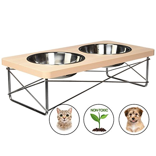 Easyology Stainless Steel Elevated Feeder Bowls for Cats and Small Dogs, Beige