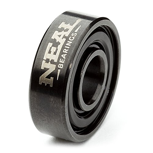 Neal Precision Ceramic Skate Bearings 608rs - Skateboard - Longboard - Inline - Scooter. The Best Bearings Guaranteed. (Black/Ceramic, 8 Pcs) by Neal Bearings (Image #1)