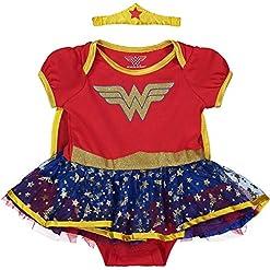 Wonder Woman Baby Girls' Costume Bodysuit Dress with Tiara & Cape