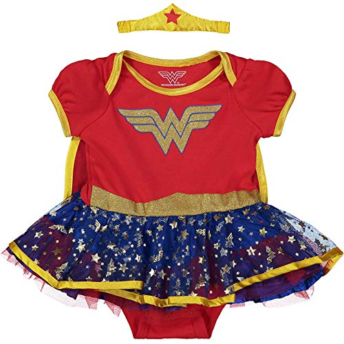 (Warner Bros. Wonder Woman Newborn Infant Baby Girls' Costume Bodysuit Dress with Gold Tiara Headband and Cape  Red (12)