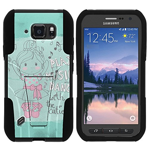 MINITURTLE Case Compatible w/ Galaxy S6 Active Case, Fusion STRIKE Impact Stand Case w/ Exclusive for Samsung Galaxy S6 Active SMG890 (AT&T) Ballerina Girl