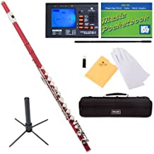Mendini Closed-Hole Key of C Flute, Red Lacquered and Tuner, Case, Stand, Pocketbook - MFE-RD+SD+PB+92D