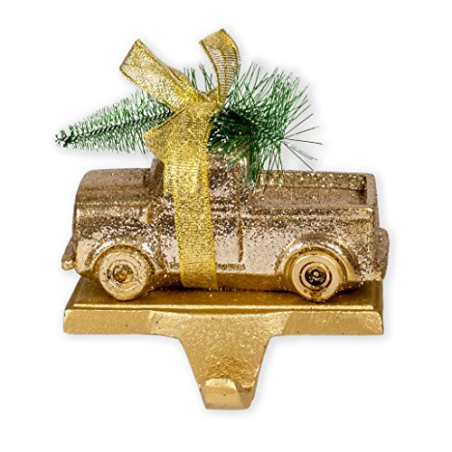 Vintage Truck Hauling Christmas Tree Gold Tone Glitter Finish 5 x 5 Resin and Metal Stocking Holder
