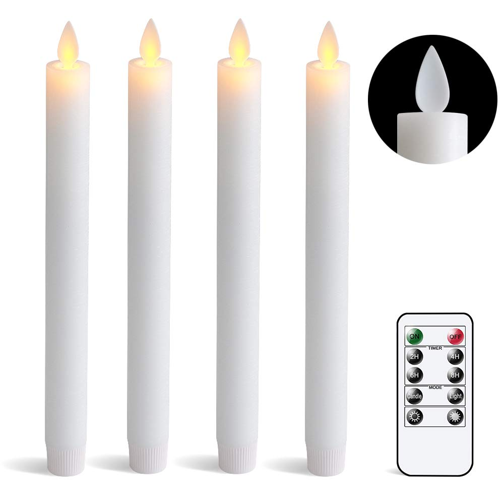 DRomance Remote White Flameless Taper Candles with Timer, Moving Wick Battery Operated LED Window Candles 0.78 x 9.5 Inches Real Wax Amber Yellow Christmas Window Decoration Candles Set of 4