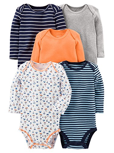 Simple Joys by Carter's Boys' 5-Pack Long-Sleeve Bodysuit, Sailboat/Blue Stripe/Orange/Grey, 6-9 Months
