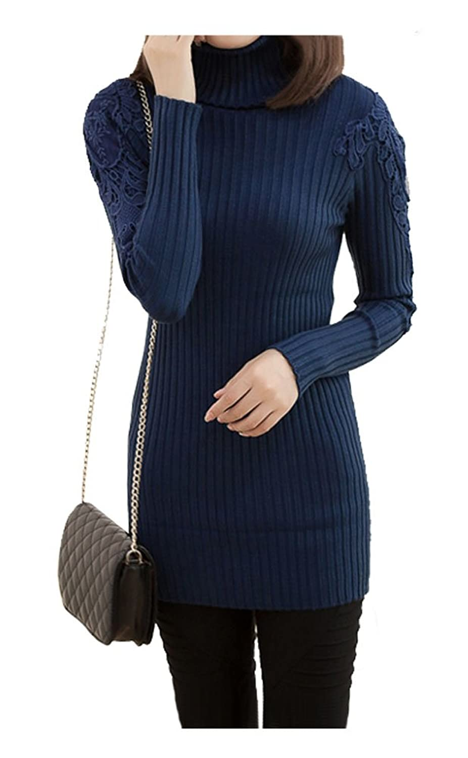 ARJOSA Womens Knitted Pullover Lace Slim Fit Sweater Long Sleeve
