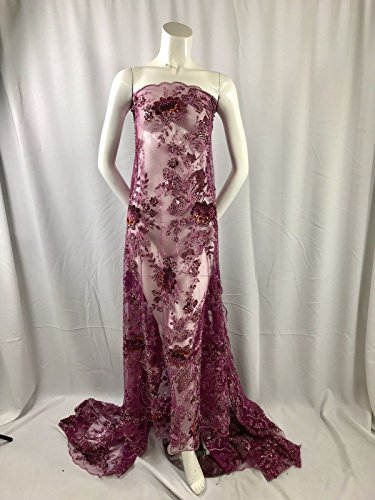 Magenta Regal flower Design Embroider And Heavy Beading On A Mesh Lace -yard ()